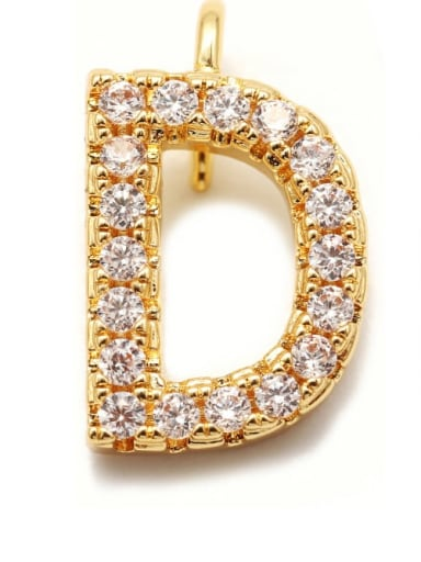 Gold D Copper CZ DIY Letter Artisan Initials Charm