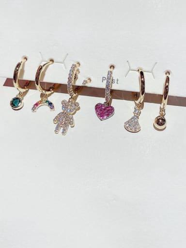 Brass Cubic Zirconia Heart Cute Huggie Earring