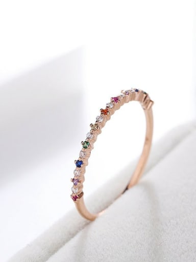Brass Cubic Zirconia Multi Color Geometric Minimalist Band Ring