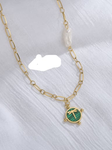 gREEN Stainless steel Shell Frog Classic Necklace