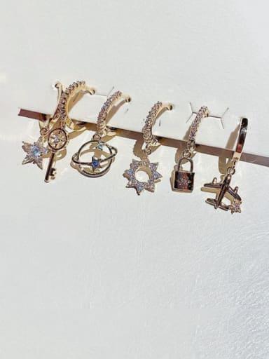 Brass Cubic Zirconia Star Dainty Huggie Earring