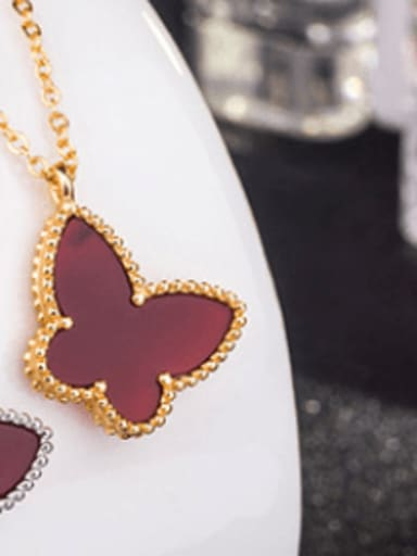 Gold Plated , Red Shell 925 Sterling Silver Shell Multiple color Butterfly Dainty Necklace