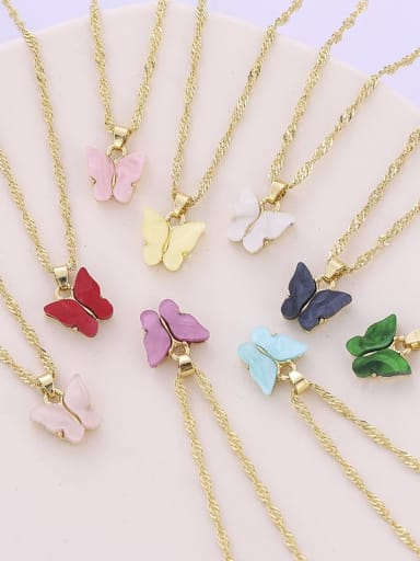 Alloy Shell Acrylic Butterfly Trend Necklace