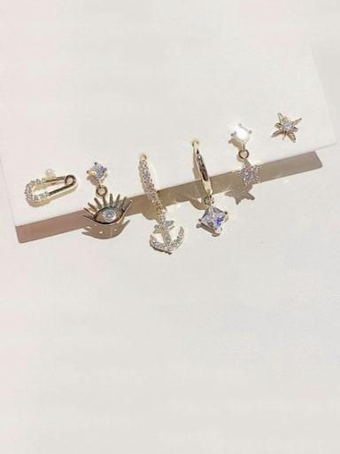 Brass Cubic Zirconia Irregular Dainty Huggie Earring