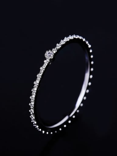 Platinum plating Brass Rhinestone Round Minimalist Band Ring