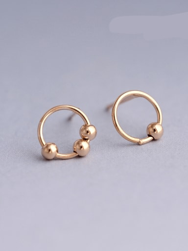 Rose Gold Plated 925 Sterling Silver Round Minimalist 8mm Hoop Earring