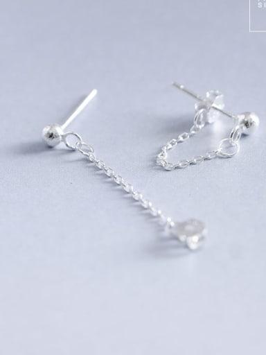Silver 925 Sterling Silver Geometric Minimalist Ear Chain Earring