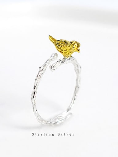 925 Sterling Silver cute bird free size Ring