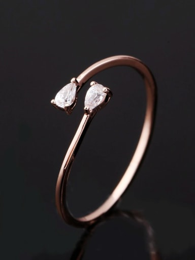 Brass Cubic Zirconia Water Drop Minimalist Band Ring
