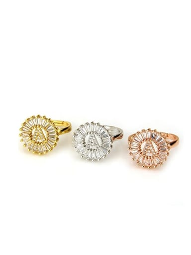 Brass Cubic Zirconia White Letter Dainty free size Ring