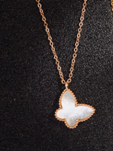 Rose Gold Plated , White Shell 925 Sterling Silver Shell Multiple color Butterfly Dainty Necklace