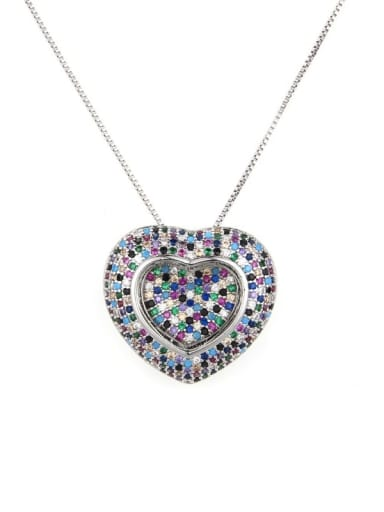Platinum Brass Cubic Zirconia Heart Dainty Locket 2.4cm 2.6cm Necklace
