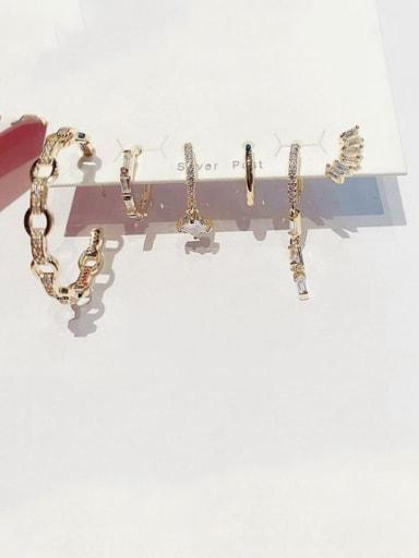 Brass Cubic Zirconia Geometric Cute Huggie Earring