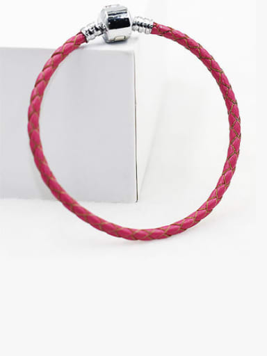 Red Leather Woven 16-22cm Bracelet