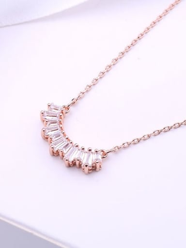 18k Rose Gold Plated Alloy Swarovski Crystal White Dainty Necklace