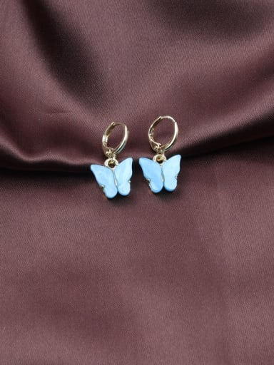 Blue Alloy Acrylic Butterfly Trend Drop 2.5cm  *1.3cm Earring