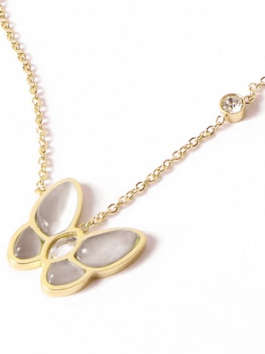 18K Gold Plated,White Butterfly Titanium Shell Butterfly Trend Multiple color Necklace