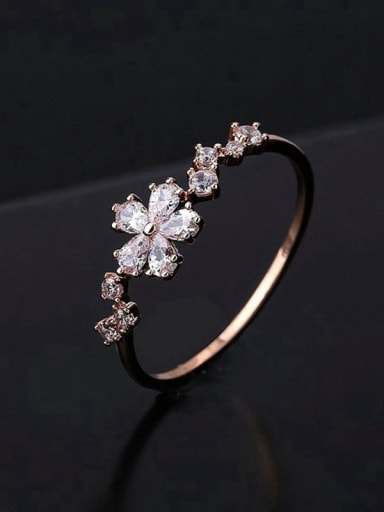 Brass Cubic Zirconia Flower Minimalist Band Ring