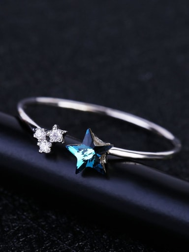 Brass Cubic Zirconia Star Minimalist Band Ring