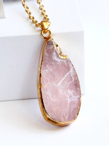 gold Plated Alloy Rose Quartz Pink Height:4cm ,Width:2cm Necklace