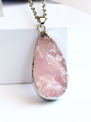 White Gold Plated Alloy Rose Quartz Pink Height:4cm ,Width:2cm Necklace