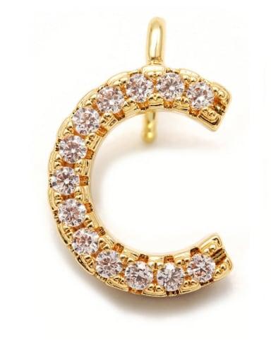 Gold C Copper CZ DIY Letter Artisan Initials Charm
