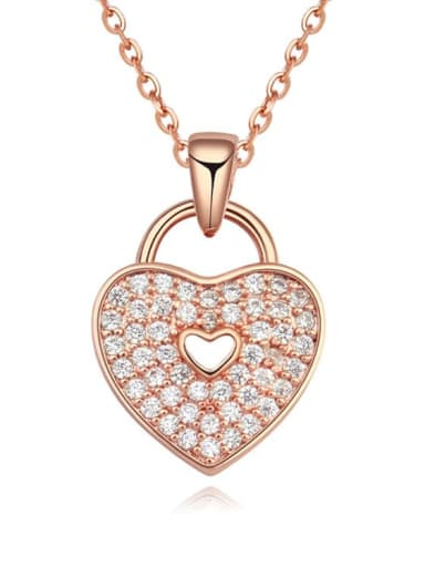 18K Rose Gold Plated Copper Cubic Zirconia White Heart Trend Necklace