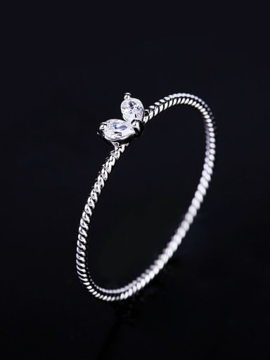 platinum Brass Cubic Zirconia Heart Minimalist Band Ring