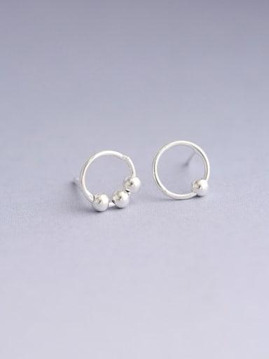 Silver 925 Sterling Silver Round Minimalist 8mm Hoop Earring