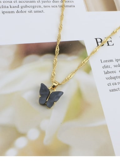 Black Alloy Shell Acrylic Butterfly Trend Necklace