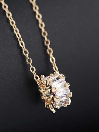Gold Plated Brass Cubic Zirconia White Necklace