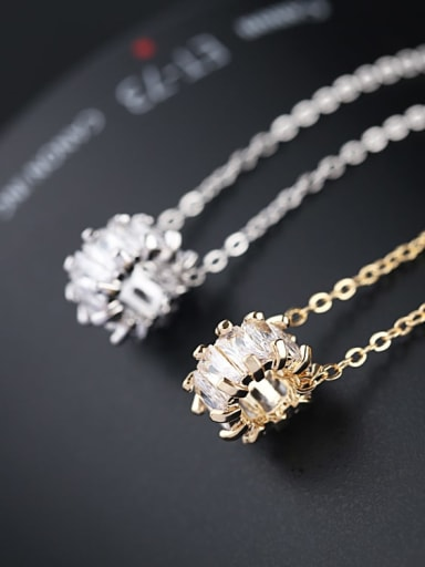 Brass Cubic Zirconia White Necklace