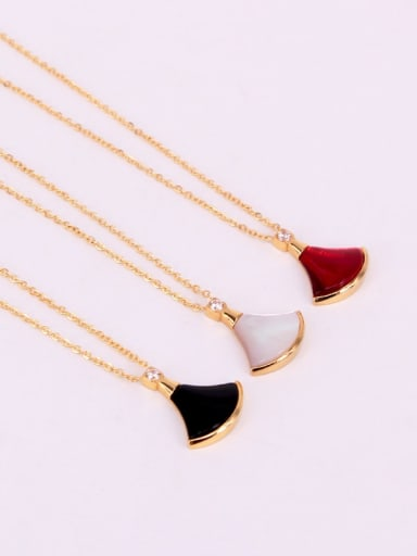 Stainless Steel with Shell Multi Color Sector Necklace