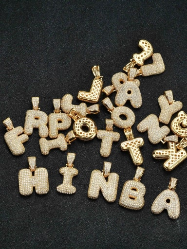 Custom Brass Cubic Zirconia White 26 Letter Hip Hop Necklace