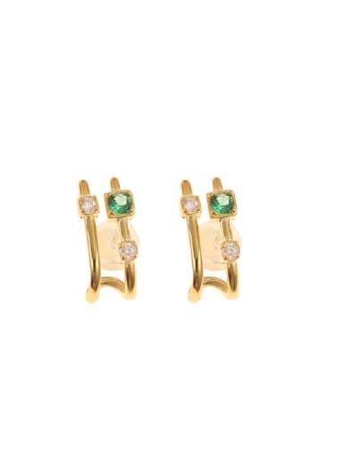925 Sterling Silver Emerald Green Geometric Clip Earring