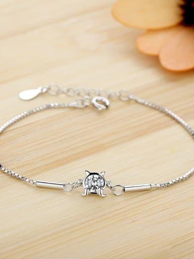 Jùxièzuò 3/5000 Cancer 925 Sterling Silver Cubic Zirconia White Heart Dainty Bracelet