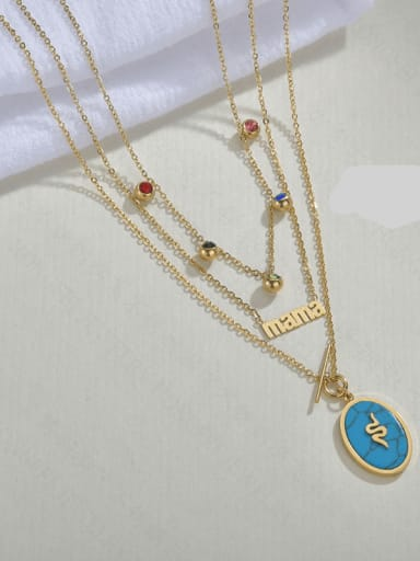 Blue Turquoise Stainless steel Turquoise Letter Trend Multi Strand MAMA Necklace