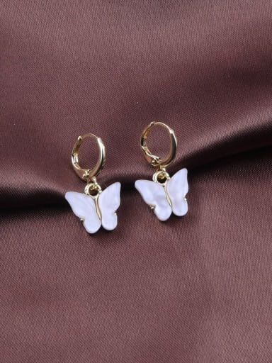 White Alloy Acrylic Butterfly Trend Drop 2.5cm  *1.3cm Earring