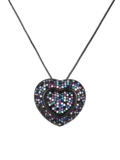 Black Brass Cubic Zirconia Heart Dainty Locket 2.4cm 2.6cm Necklace