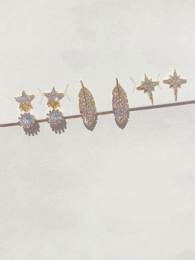 Brass Cubic Zirconia Star Leaf Dainty Huggie Earring