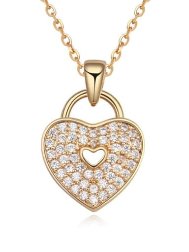 18K Gold Plated Copper Cubic Zirconia White Heart Trend Necklace