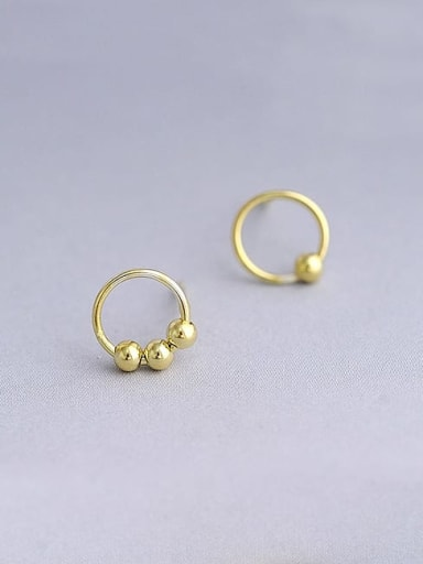 Gold Plated 925 Sterling Silver Round Minimalist 8mm Hoop Earring