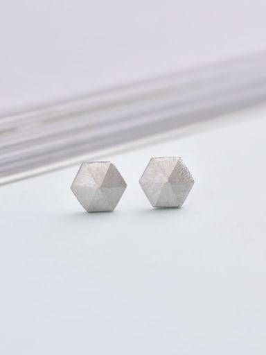White 925 Sterling Silver Geometric Minimalist 6mm * 6mm Stud Earring