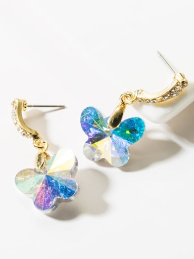 Muilt Color Alloy Glass Bead Drop 3.6cm * 1.8cm butterfly Earring
