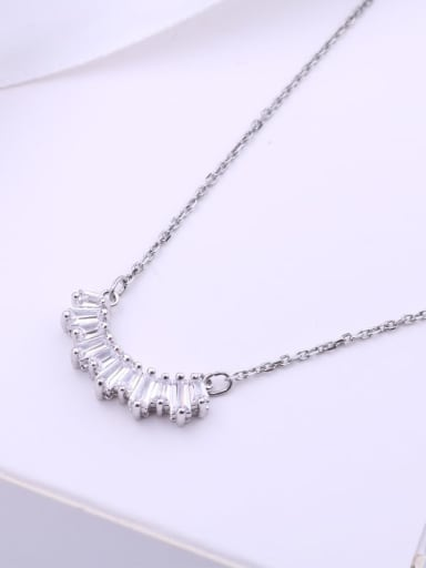 18K White Gold Plated Alloy Swarovski Crystal White Dainty Necklace