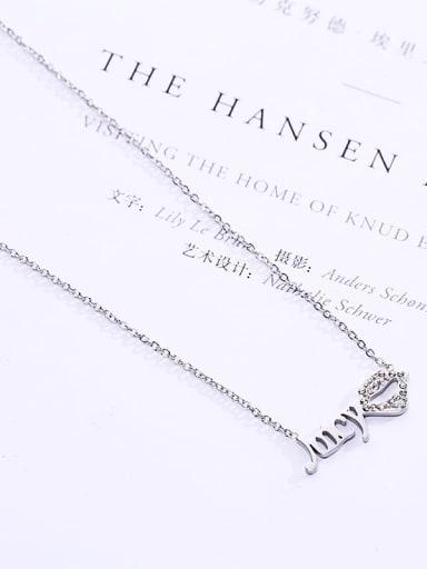 Steel Titanium Rhinestone White Mouth Dainty Necklace