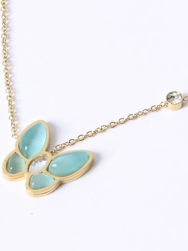 18K Gold Plated,Blue Butterfly Titanium Shell Butterfly Trend Multiple color Necklace