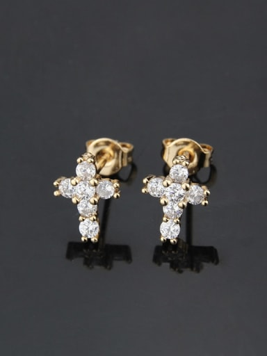 Gold plated white zirconium Brass Cubic Zirconia Cross Vintage Stud Earring