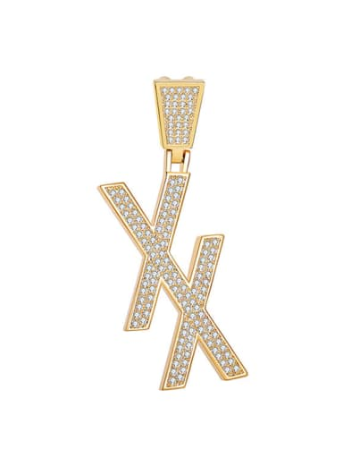 Brass Rhinestone White Letter Trend Initials double xx Necklace