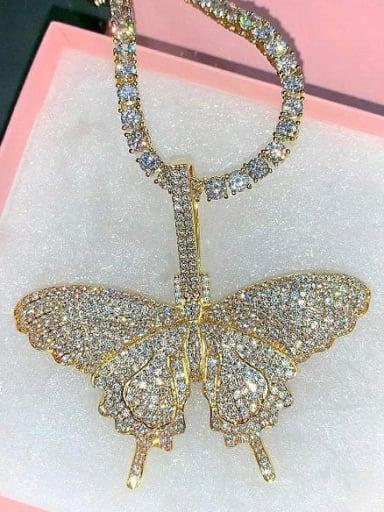 18K Gold Plated Brass 4A Cubic Zirconia Butterfly Hip Hop Cuban Tenns Necklace